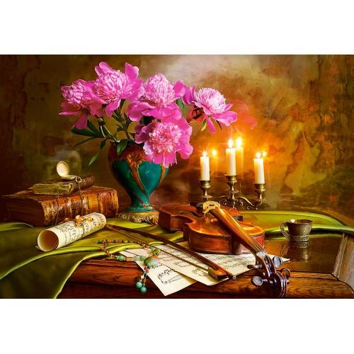 Пазл «Натюрморт - скрипка и цветы» (C-151530)