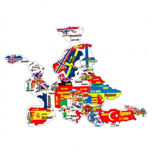 """Магнитный географический пазл """"Европа"""" на доске 32х51"""