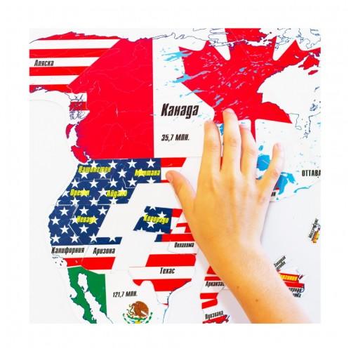 """Магнитный географический пазл """"Северная Америка"""" на доске 44х72 Магнитные"""